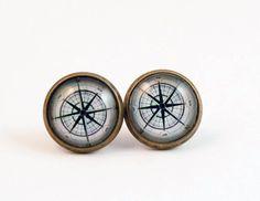 Compass Stud Earrings antique brass post earrings gift by KCowie, $13.95