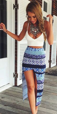 Sexy Sling Tops + Floral Print Slit Skirt Two-piece Set