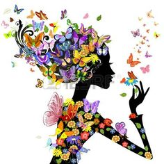 silhouette: girl fashion flowers with butterflies