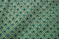 Stenzo15 7010-99 Cotton poplin retro motief wit/turquoise/lime