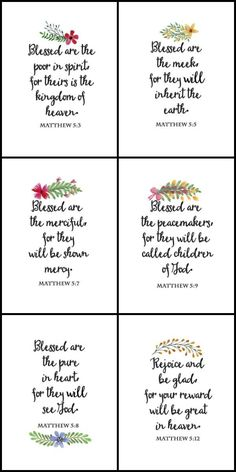 The Beatitudes Printable Wall Art and Cards. Set of 10 printables featuring The Beatitudes from Matthew Chapter 5. Perfect for DIY wall art, gallery wall, cards, banners. Beatitudes printables | Beatitudes bible verses.