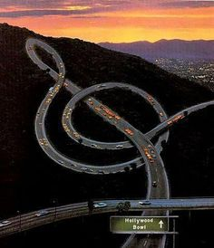 Musical Freeway, Los Angeles, California- Alas, it's only photoshopped.Nice sunset shot, though.