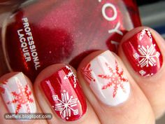 perfect snowflake nails - great for the holidays! red and white snowflake nail art Fancy Nails, Love Nails, How To Do Nails, Holiday Nail Art, Christmas Nail Art, Merry Christmas, Christmas Manicure, Christmas Snowflakes, Christmas Fashion