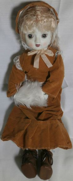 """Antique Doll Girl Blue Tint Face Bisque Collectible 18"""" Tall"""