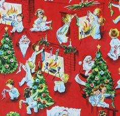Vintage Christmas Gift Wrap - Wrapping Paper -  Children Santa Fireplace - 1950s