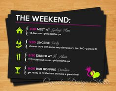 Printable Bachelorette Party Itinerary  by CupcakeDesignStudio, $12.50