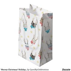 'Meowy Christmas' Holiday Cats In Antlers Pattern Small Gift Bag @zazzle