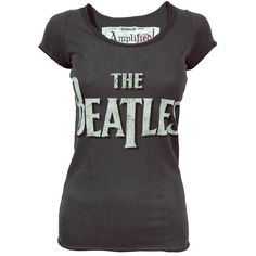 Amplified Ladies Beatles Scoop Neck T Shirt Charcoal ($40) ❤ liked on Polyvore