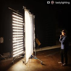 Image by @tastylighting | @kyleramseymoe contemplates the soft beauty of our @quasarscience 16 tube ladder light rig. 640w total 5 amp power draw. #onset #bicolor #led #setlighting #studio #studiophotography