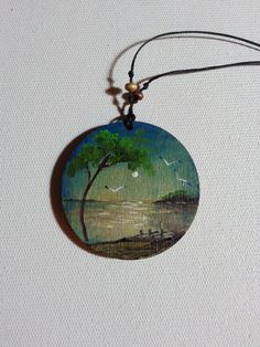 seascape painted landscape necklace miniature painting by AxiKedi