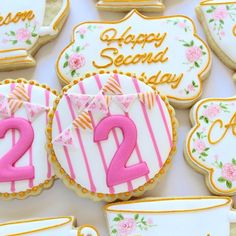 We loved making these second birthday cookies, featuring Sweet and delicate, these cookies are for those who appreciate Tea Cookies, Sugar Cookies, Monogram Cookies, Rose Tea, Bunting Banner, Birthday Cookies, Custom Cookies, Dessert Table, Our Love
