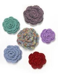 Free Crochet Pattern: Crocheted Rosettes / Flowers  Lion Brand® Homespun®  Pattern #: 40399-B2