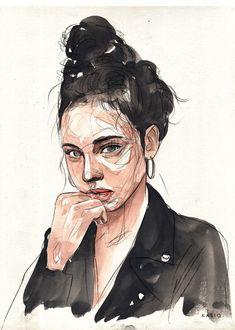 Fashion Portrait series on Behance Fashion Sketches, Art Sketches, Art Drawings, Watercolor Portraits, Watercolor Paintings, Watercolor Drawing, Watercolours, Illustration Mode, Guache