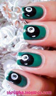8 Ball Themed Nail Art