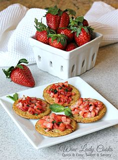 Strawberry Bruschetta is a quick and easy appetizer to prepare for holiday entertaining as well as for weekend game day snacks. Brunch Appetizers, Vegetarian Appetizers, Brunch Recipes, Appetizer Recipes, Easter Recipes, Fruit Recipes, Holiday Recipes, Quick And Easy Appetizers, Game Day Snacks