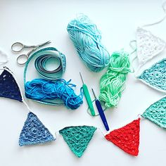 yet other garland in summer colours 💙 Crochet Garland, Crochet Cord, Summer Colours, Baby Cribs, Bunting, Little Ones, Cherry, Drop Earrings, Create