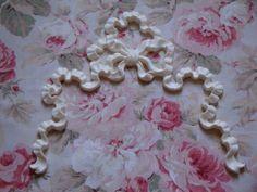"Lg French Bow Ribbon 2 pc 7 1//4/"" x 5/"" Architectural Furniture Applique Pediment"