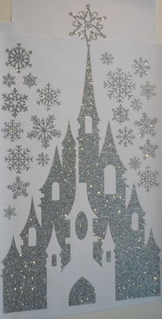 E57 SALE! Winter Snow Ice Queen Princess Castle with Snowflakes SILVER Pressure Sensitive GLITTER Wall Mural Sticker Decal Ready to Ship