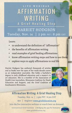 Affirmation writing is proactive, a grief healing step.