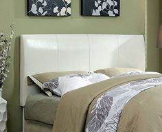 Furniture of America Towne Modern Leatherette Headboard Espresso White Full to Queen -- Click on the image for additional details.