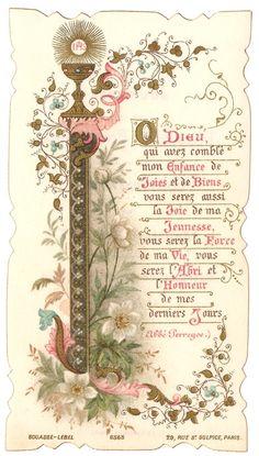 1896 Antique French Illuminated Holy Prayer Card