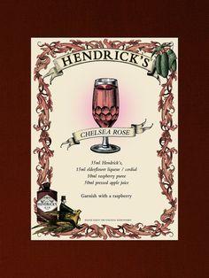 Hendrick's Gin Poster Chelsea Rose Cocktail Recipe