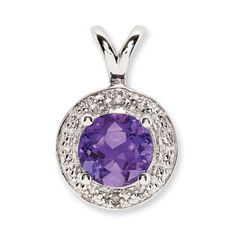 Round Amethyst February Birthstone Diamond Sterling Silver Pendant Available Exclusively at Gemologica.com