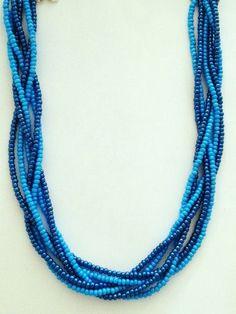 Dark Metallic & Sky Blue 6 Strand Twist / Braided Necklace