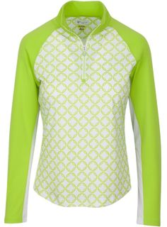 Citrus Green Greg Norman Ladies Solar XP 1/4-Zip Chain Link Print Golf Polo Shirt. Find more stylish ladies outfits at #lorisgolfshoppe