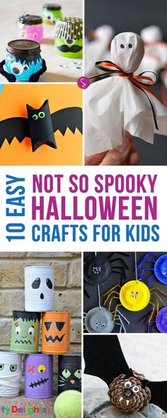 Easy Halloween Crafts for Kids to Make! How adorable is that bat made from a pinecone? Oh and that Monster slime looks like so much fun!