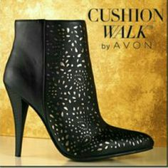 AVON Cloud Walk Laser Cut Fashion Ankle Booties Last Pair! Gold and black faux leather ankle boots are comfortable and sexy. Plush wave molded footbed cushions feet. 3 inch heel. Avon Shoes Ankle Boots & Booties