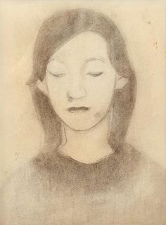 Artwork by Helene Schjerfbeck, HYVINKÄÄ GIRL, Made of drawing