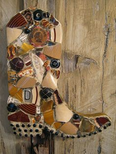 """Mosaic cowboy boot customized with a letter """"D""""."""