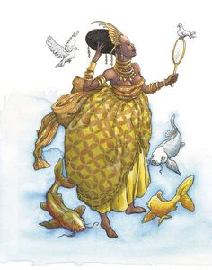 Gorgeous picture of Oshun, but I can't find the artist - anyone know?