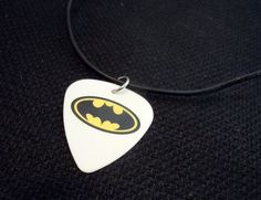 Batman Guitar Pick on Rolled Black Leather Cord Necklace by ItsYourPick on Etsy