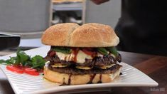 """The Cheeseburger Italiano was inspired by my love of simple, """"Classic Italian"""" food. I didn't want to go the obvious route of slapping on some pizza sauce with some cheese and calling it """"good."""" Barbecue Recipes, Burger Recipes, Jerk Chicken, Grilled Chicken, Italian Burger, Chopped Steak, Balsamic Reduction, Sliced Tomato, Classic Italian"""