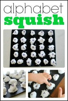 Sound Squish. I love this idea! Sensory activity that can be used not only for letter recognition but making the sound of the letter or letters as they squish them. Another awesome idea from Jenae at I Can Teach My Child.