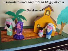 Samuel é deixado no templo com o sacerdote Eli... personagens reciclados feitos com caixas de creme dental e rolinho de papel e eva