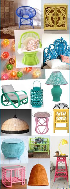 The Weekend Notebook: Candy Cane Furniture – Sweet Looks In Coloured Cane Das Wochenend-Notizbuch: C Cane Furniture, Bamboo Furniture, Upcycled Furniture, Painted Furniture, Furniture Ideas, Furniture Removal, Painted Bamboo, Painted Wicker, Do It Yourself Furniture