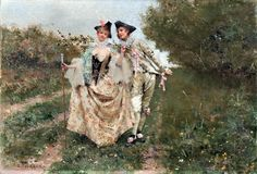 Courtly Couple Strolling in a Spring Landscape, Edouard Toudouze b.1848, via The Athenaeum