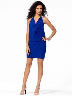 CACHE NWT Sexy Bright Blue RHINESTONES Drape Neck Blouson COCKTAIL Dress   M  L #CACHE #Blouson #Cocktail