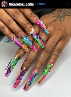 Long Square Acrylic Nails, Bling Acrylic Nails, Summer Acrylic Nails, Neon Nails, Best Acrylic Nails, Acrylic Nail Designs, Exotic Nail Designs, Long Cute Nails, Jolie Nail Art