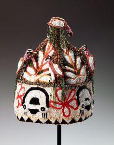 "Africa | Chief's Coronet (""Orikogbofo"") from the Yoruba people of Nigeria | 20th century | Cloth and glass beads."