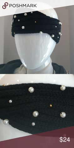 Knit Headband with Pearls Black Knit Headband with White and Gold bead detail! Boutique  Accessories Hair Accessories