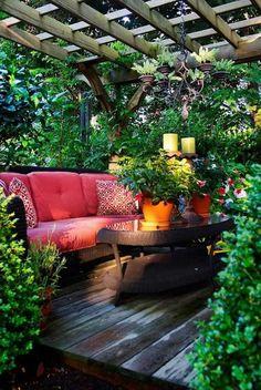pergola markise sofa Überdachte Terrasse modern holz glas