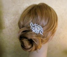 Vintage Inspired Bridal Hair Comb or Brooch - Dazzling Crystal Flower and Leaf hair clip on Esty