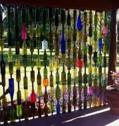 Bottle Fence made from old colored bottles--now where on the property could we put this?