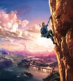 The Legend of Zelda: Breath of the Wild - Link Climbing Cliff