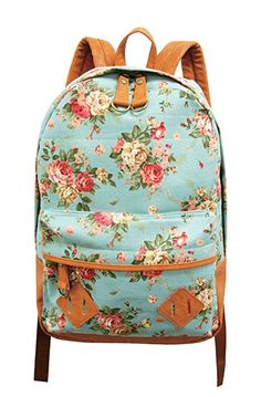 Carrot Aj-31331 Flower Printed Canvas Backpack (Mint Green)