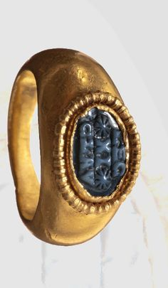 """A Roman gold ring for an officer. The Leigo VI was established in 58 B. and was awarded the honorific title """"Claudia Pia Fidelis"""" under Emperor Claudius, ca. ~ """" Pia Fidelis"""" is pius and faithful. Roman Jewelry, Old Jewelry, Antique Jewelry, Vintage Jewelry, Jewlery, Medieval Jewelry, Ancient Jewelry, Historical Artifacts, Ancient Artifacts"""